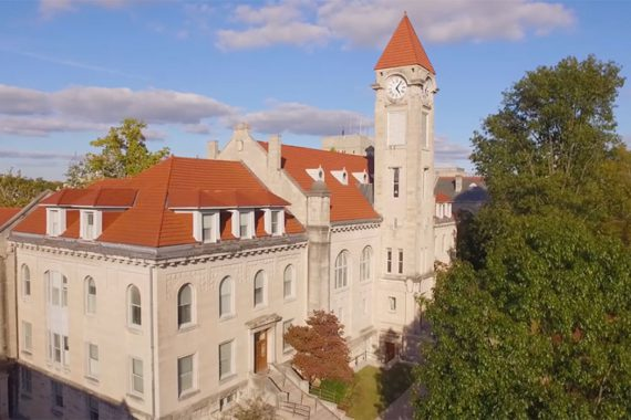 An aerial shot of the Francis Morgan Swain Student Building on the IU Bloomington campus