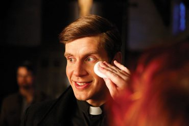 Zachary Spicer on the set of The Good Catholic