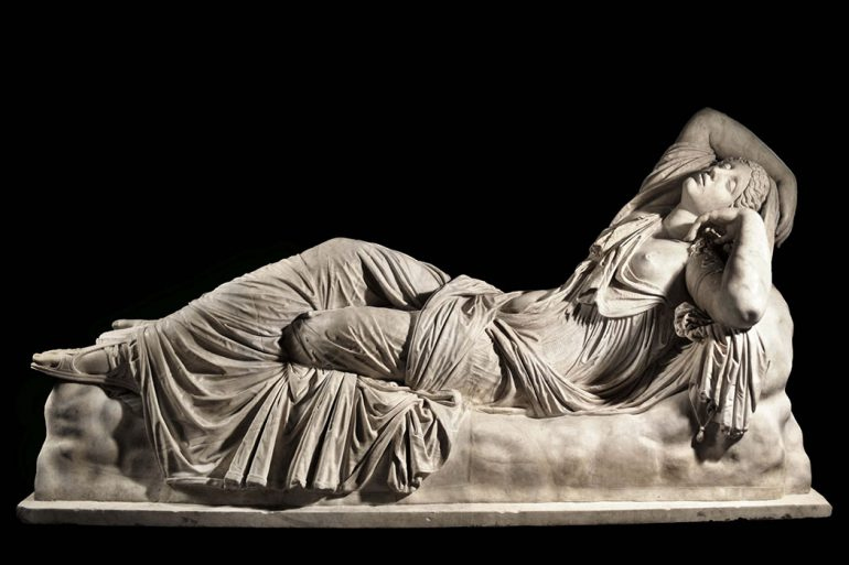 Arianna Dormiente (Sleeping Arianna), a second-century Roman sculpture, is part of the Uffizi Gallery Collection in Florence, Italy, to be digitized in 3-D. Photo: IU Communications
