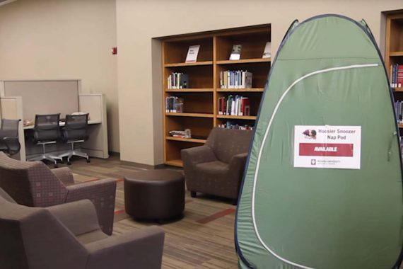 Nap pod positioned at the IU Bloomington Wells Library