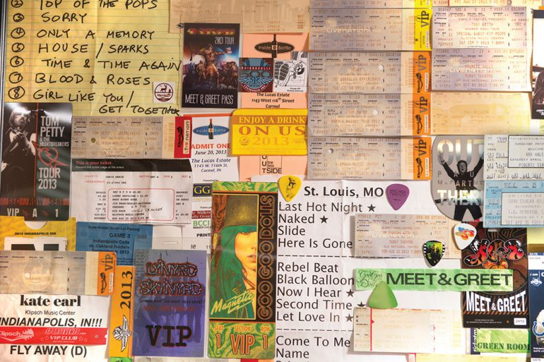 The blue ticket on the far right is Ross Fazekas's ticket from the John Mellencamp concert during Little 500 weekend in 1986. Photo by Marc Lebryk.