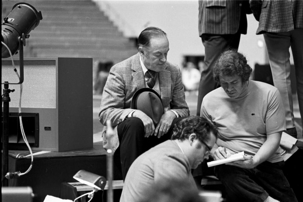 Bob Hope preparing for the Homecoming Show at Assembly Hall in October 1971. Photo courtesy of IU Archives.