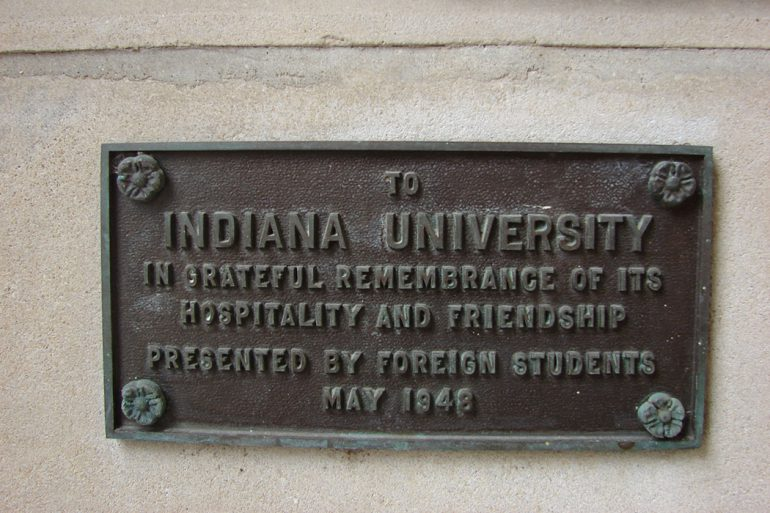 "The plate that accompanied the gift reads: "" To Indiana University in grateful remembrance of its hospitality and friendship, presented by foreign students, May 1948."" Photo courtesy of the IU Office of the Vice President for International Affairs."