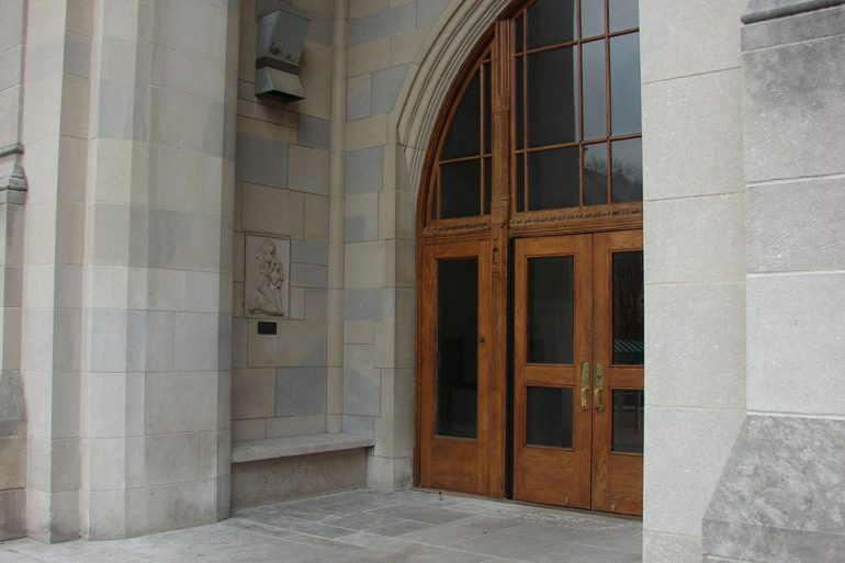 The relief is located in the portico of the south entrance to Alumni Hall at the Indiana Memorial Union. Photo courtesy of the IU Office of the Vice President for International Affairs.