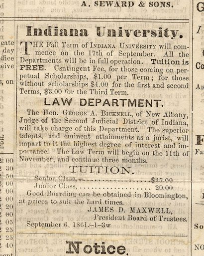 Tuition advertisement from Sept. 28, 1861. Photo courtesy of IU Archives.