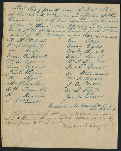 A boarding club receipt for room rent dated Nov. 15, 1845. Photo courtesy of IU Archives.
