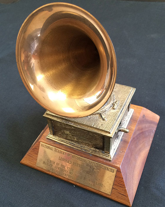 Leonard Bernstein's 1967 Grammy award. Inscription reads: National Academy of Recording Arts & Sciences; Leonard Bernstein; Album of the Year, Classical—1967; Mahler: Symphony No. 8 in E Flat Major; London Symphony Orchestra.