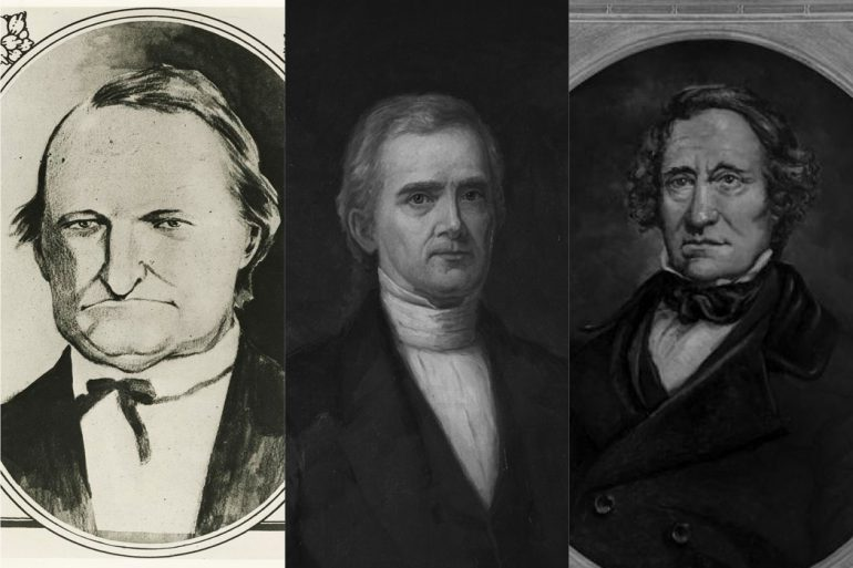 Among the first (and only members) of IU's faculty, tensions were high when Andrew Wylie, right, was named president. The two professors in the 1830s were John H. Harney, left, and Baynard R. Hall, center.