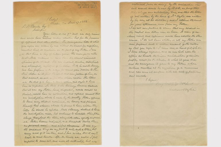 The letter from Andrew Wylie, Jr. to D.D. Banta, Esq., dated Dec. 17, 1882. Photo courtesy of IU Archives.