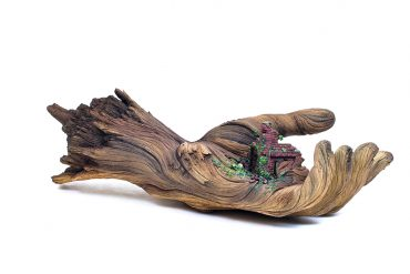 Clay sculptures resembling wood