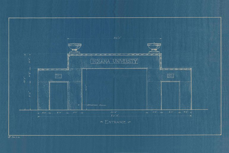 1932: The first proposed gateway to mark the Kirkwood entrance to campus in honor of the Class of 1873, by Newell Sanders.