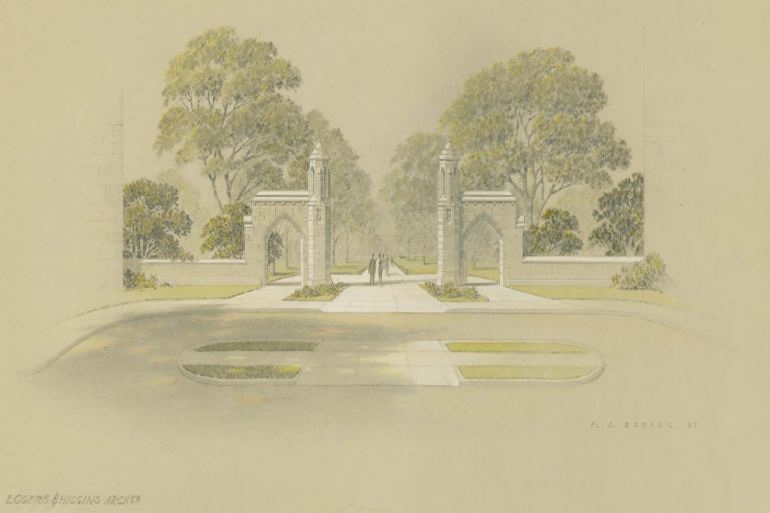 "1967: Originally prepared in 1961, this gothic style ""Fifth Street Gateway"" proposed by Eggers & Higgins, wasn't settled upon until 1968. This approved design of the Sample Gates is the one that we know today."