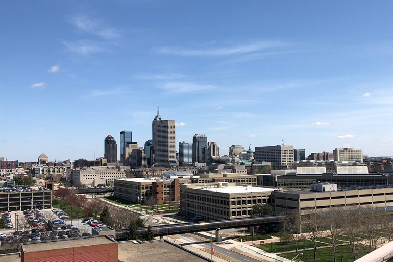 IUPUI After: Downtown Indianapolis with campus in the foreground, April 19, 2018.