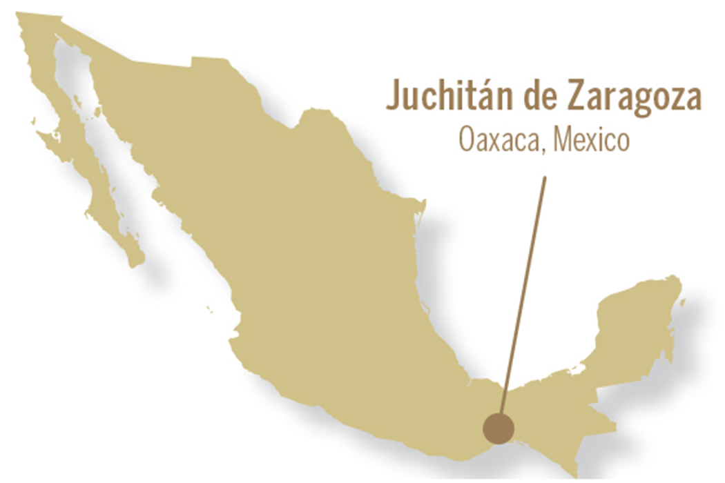 On an outline of Mexico, a line points to the location of Juchitan de Zaragoza in Oaxaca Mexico on the southern side of the country's isthmus.