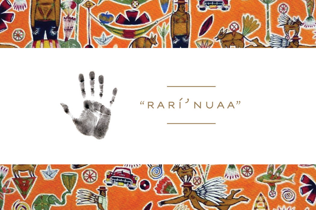 "A handprint and the phrase ""Rarí' nuaa"" are on a band of white. Framing the band are excerpts from a piece of Zapotec art, featuring people with wings and a variety of animals and items and shapes against an orange background."