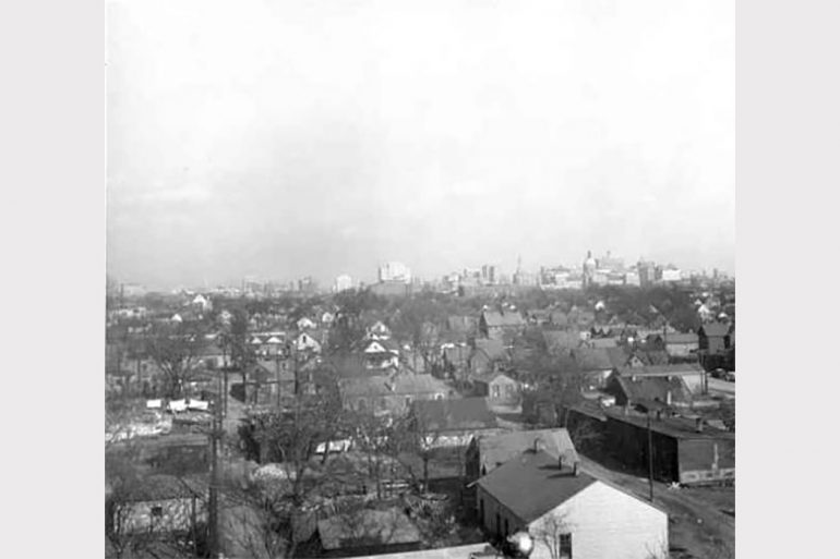 IUPUI Before: A view of downtown Indianapolis in the 1940s, with the neighborhood that would become IUPUI in the foreground. Photo courtesy of IUPUI Archives.