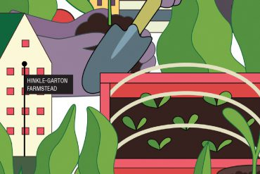 This graphic illustration is packed with iconography representing the IU Campus Farm, including seedlings, planters, watering cans, spades, seed packets, and more.