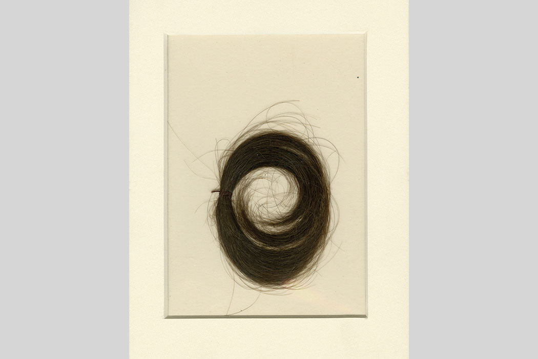 A brown curl of hair is displayed on a framed card.