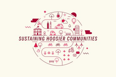 "Several small icons (including bicycles, flowers, windmills, park benches, birds, and more) surround the text ""Sustaining Hoosier Communities."""