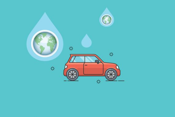 Graphic contains an illustration of a sparkling clean red car set against a turquoise background. Above the car are oversized water drops, some containing an illustration of Earth.