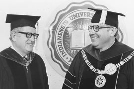 Otis Bown in his graduation attire with IU President John Ryan in May of 1976.