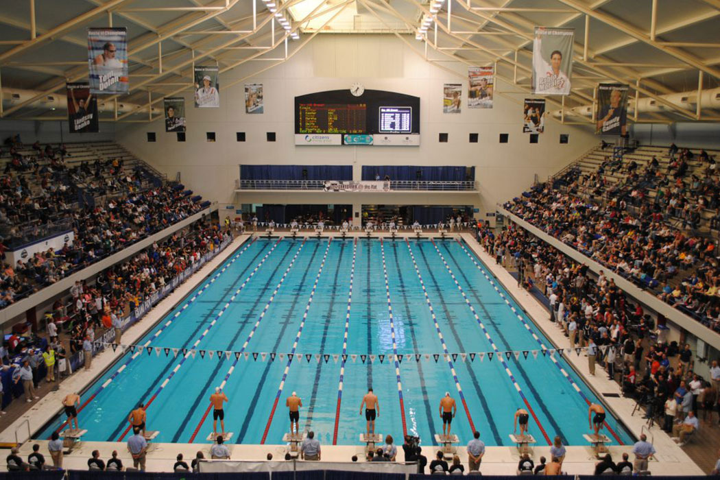 A wide shot of the IU Natatorium swimming pool shows swimmers lining up on the blocks, as the crowd in the stands on either side of the pool look on.