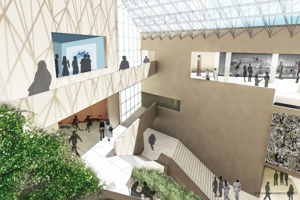 An architectural rendering showing a light-filled atrium with a walkway connecting the third-floor wings.
