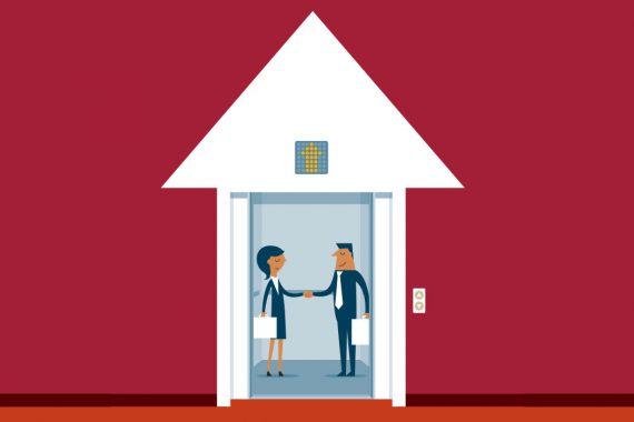 Illustration of two people shaking hands in an elevator