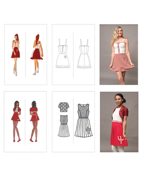 The graphic shows the evolution of two student-designed outfits. At top are two illustrations of a student's IU-themed dress design followed by a photo of the student modeling the finished dress. At bottom are two illustrations of a student's IU-themed dress and cardigan design followed by a photo of the student modeling the finished ensemble.