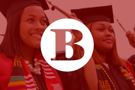 "The letter ""B"" in a white circle overlays a red-filtered photo of two IU graduates turning the tassels on their mortarboards."