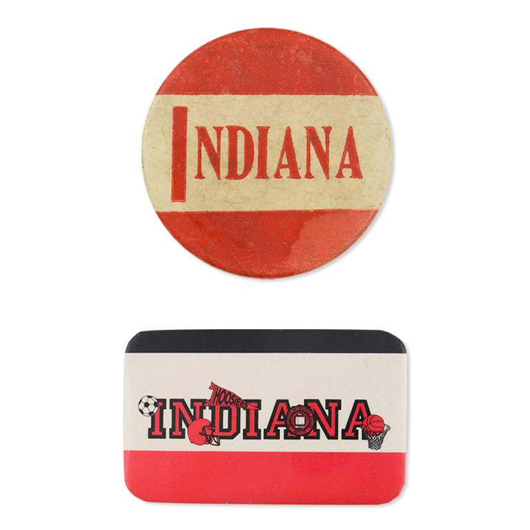 Two red and white Indiana buttons