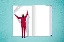 Illustration of person writing in a giant book