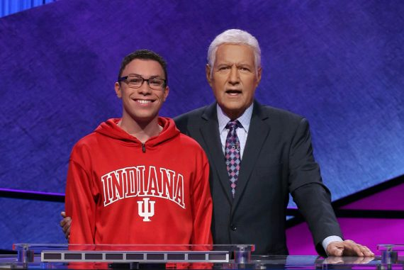 Tyler Combs with Alex Trebek on Jeopardy!