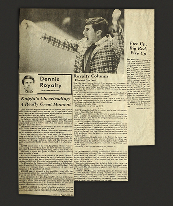 Old newspaper clippings about Bob Knight