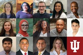 A grid of photos of 14 diverse, smiling students.