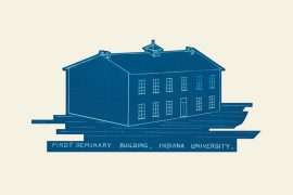 "A blue drawing of a simple, two-story building labeled ""First Seminary Building, Indiana University."""