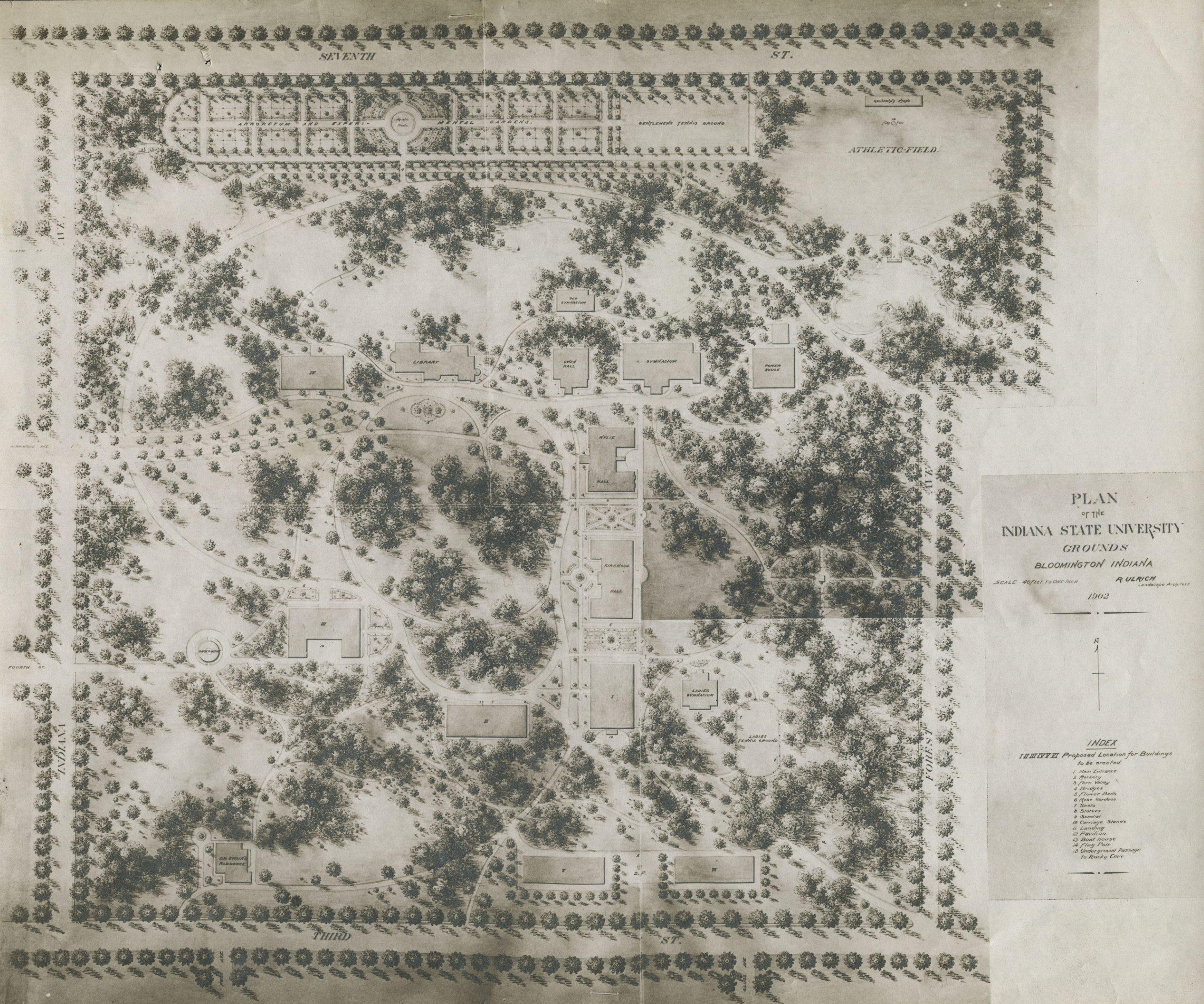 """This black-and-white, hand-drawn rendering of the IU Bloomington campus features an aerial view of the campus area between Seventh Street on the north to Third Street on the south, and Indiana Avenue on the west and Forest Avenue on the East. The map legend, labeled """"Plan of the Indiana State University Grounds,"""" is located in the bottom right corner of rendering."""