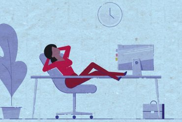 Illustration of woman with feet up on desk