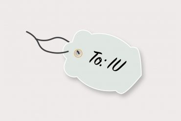 "Gift tag that says, ""To: IU"""