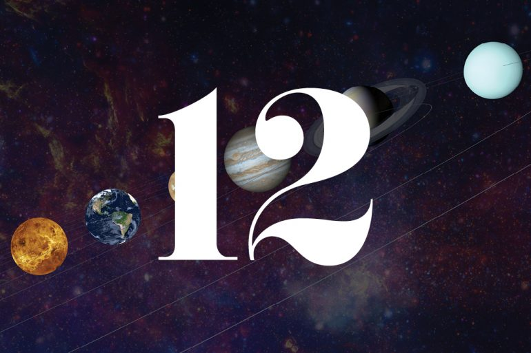 Illustration of planets with a large white number 12.