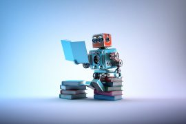 A robot sits and reads on a stack of books