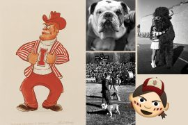 "Collage of five IU Bloominton mascots: Pictured left is an illustration of a man wearing a crimson cowboy hat, white ""I"" turtleneck sweater, candy-striped blazer, and crimson pants; pictured top middle is a close-up, black-and-white photo of a bulldog's face; pictured bottom middle is a black-and-white photo of the bulldog on the sidelines of an IU football game; pictured top right is a black-and-white photo of an IU cheerleader hugging a costumed bison mascot; pictured bottom right is an emoji of an IU fan with candy-striped face paint and wearing an IU ball cap."