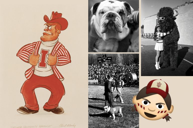 """Collage of five IU Bloominton mascots: Pictured left is an illustration of a man wearing a crimson cowboy hat, white """"I"""" turtleneck sweater, candy-striped blazer, and crimson pants; pictured top middle is a close-up, black-and-white photo of a bulldog's face; pictured bottom middle is a black-and-white photo of the bulldog on the sidelines of an IU football game; pictured top right is a black-and-white photo of an IU cheerleader hugging a costumed bison mascot; pictured bottom right is an emoji of an IU fan with candy-striped face paint and wearing an IU ball cap."""