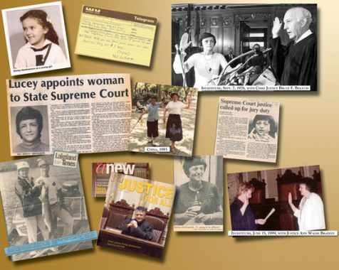 Collage of press clipping and photos about Shirley Abrahamson.