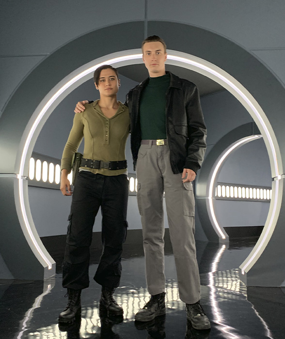 """Katy O'Brian and James Paxton on set of """"Agents of S.H.I.E.L.D"""""""