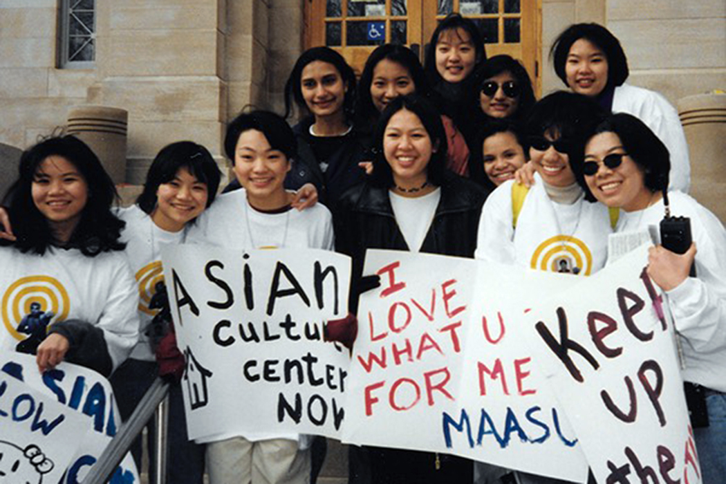 Khai Yang with friends on IU Bloomington campus in the late 1990s