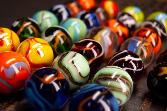 Different colored marbles