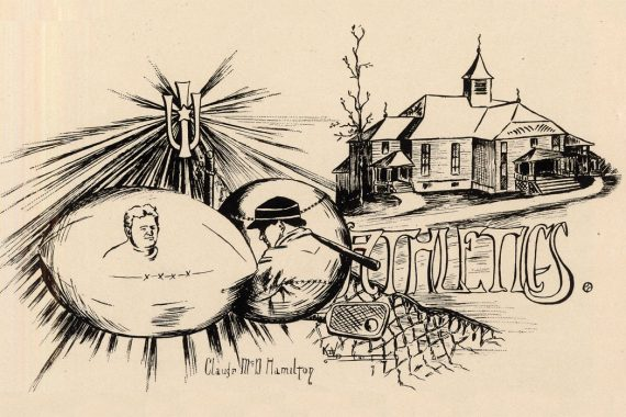 """Black-and-white drawing of a building, a baseball player, a net, and other ephemera along with an interlocking """"I"""" and """"U"""" with a star on it."""