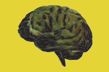 An illustration of a brain in profile, designed with layered geometric and wave patterns and set against a mustard yellow background.