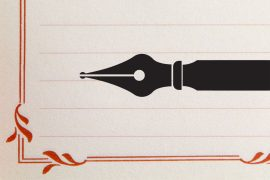 The silhouette of a pen overlaps a piece of stationary with a decorative red border.